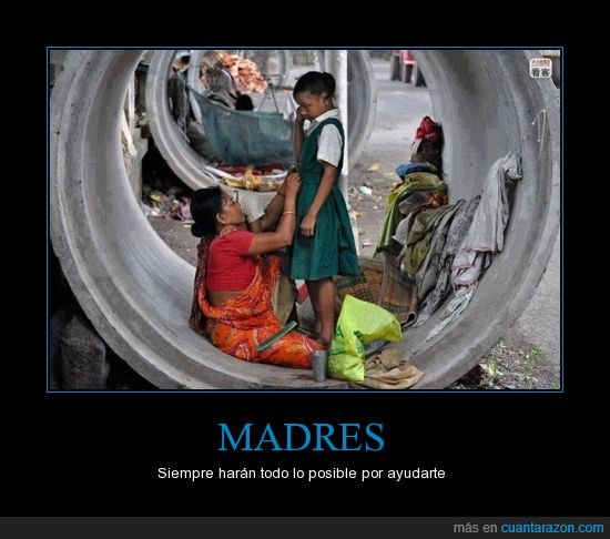 calle,clase,dormir,hija,india,ir,madre,pobre,uniforme,vestir
