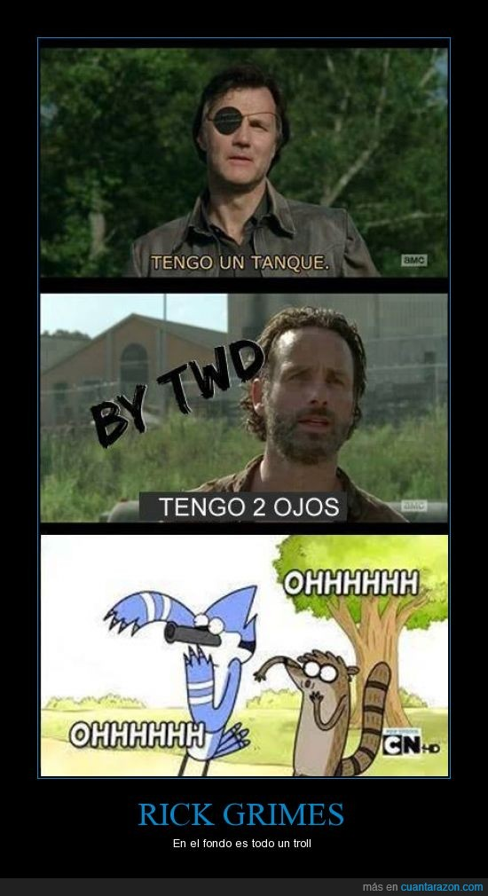 a regular show,dos,fruto gobernador,ojo,tanque,the walking dead,uno
