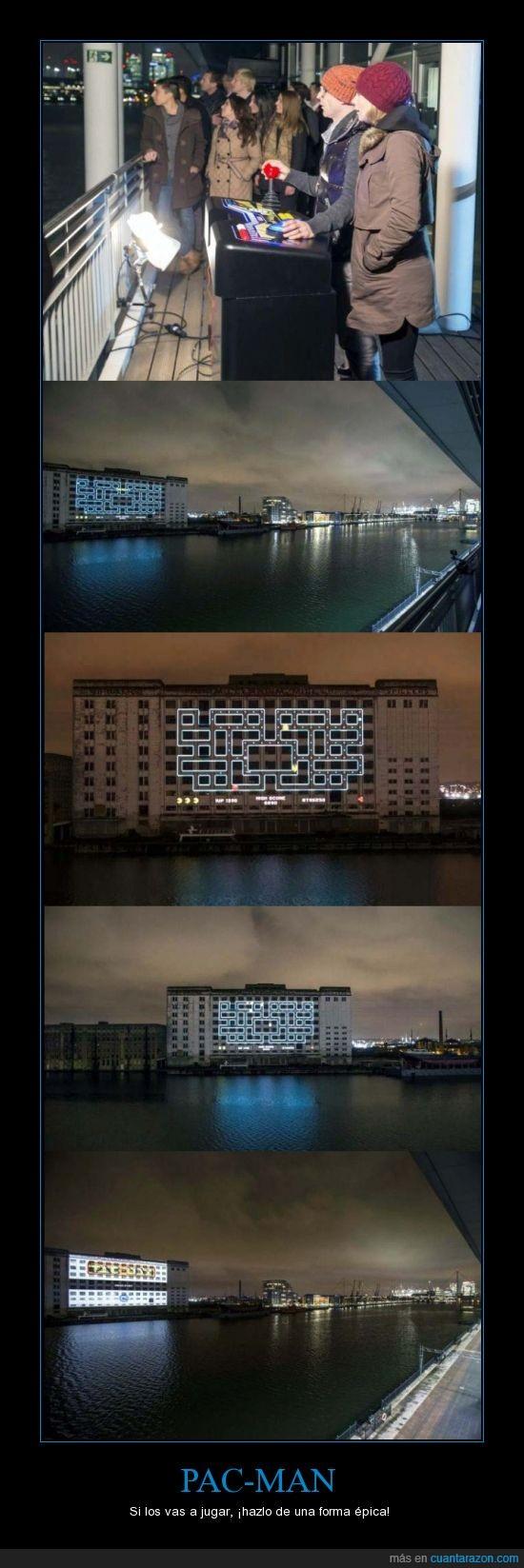 edificio,epico,jugar,man,pac,pac-man,que no pase un barco por favor,rio