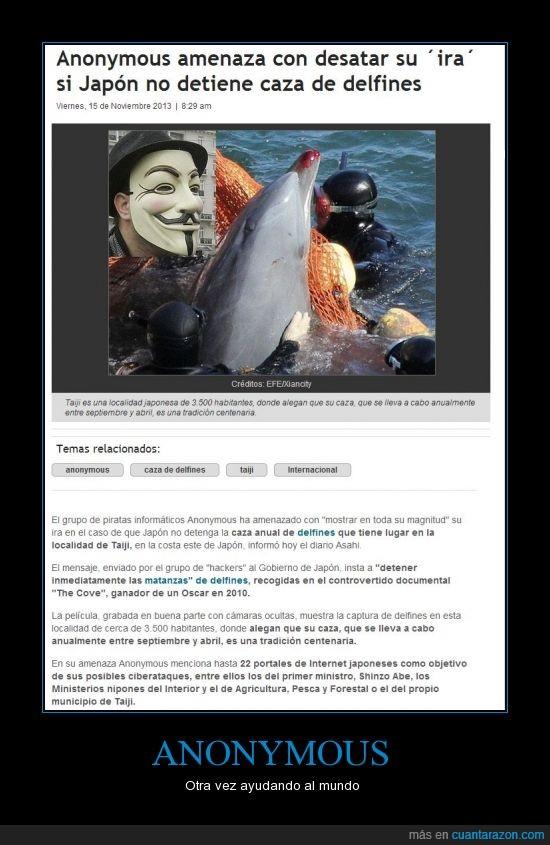 Anonymous,delfines,ira,japón,masacre