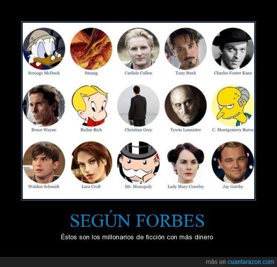Batman,ficción,Forbes,Ironman,Los simpson,millonarios,Monopoli,TomRaider
