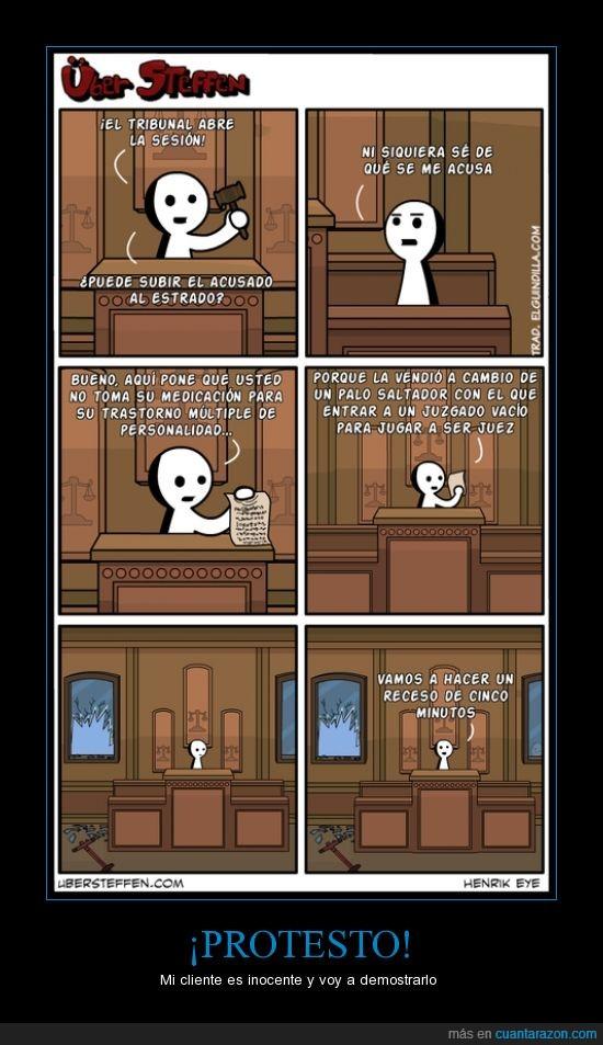 esquizofrenia,juicio,juzgado,medicacion,multiple personalidad,personalidad,protestar,tribunal