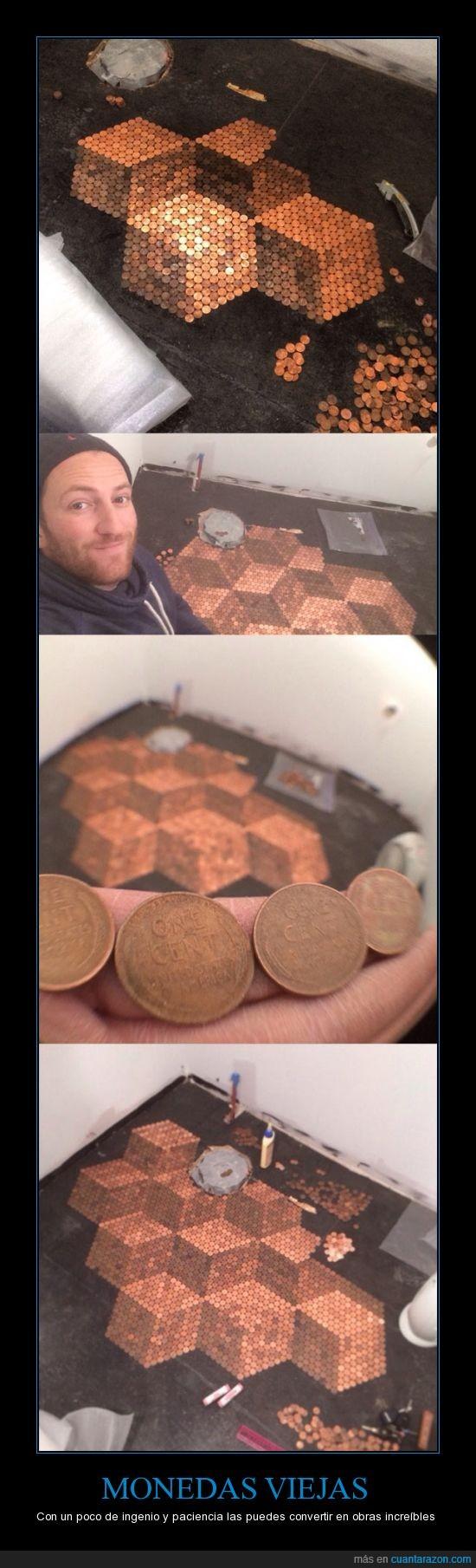 decoracion,esfuerzo,ingenio,monedas,suelo,viejas