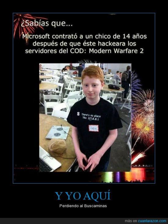 chico de 14 años,COD,contrato,Hackeara,hacker,Microsoft,Modern Warfare 2,servidores