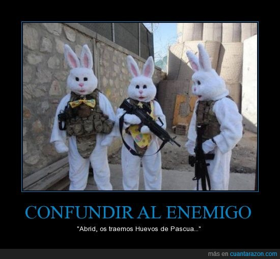 amistosos,conejito,confundir,disfraz,soldados,wtf