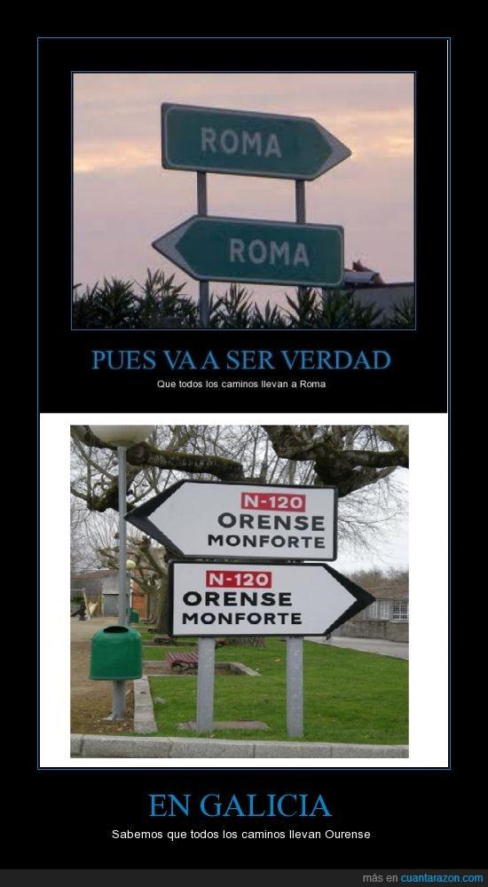 camino Ourense,lado,Roma,señal,todos