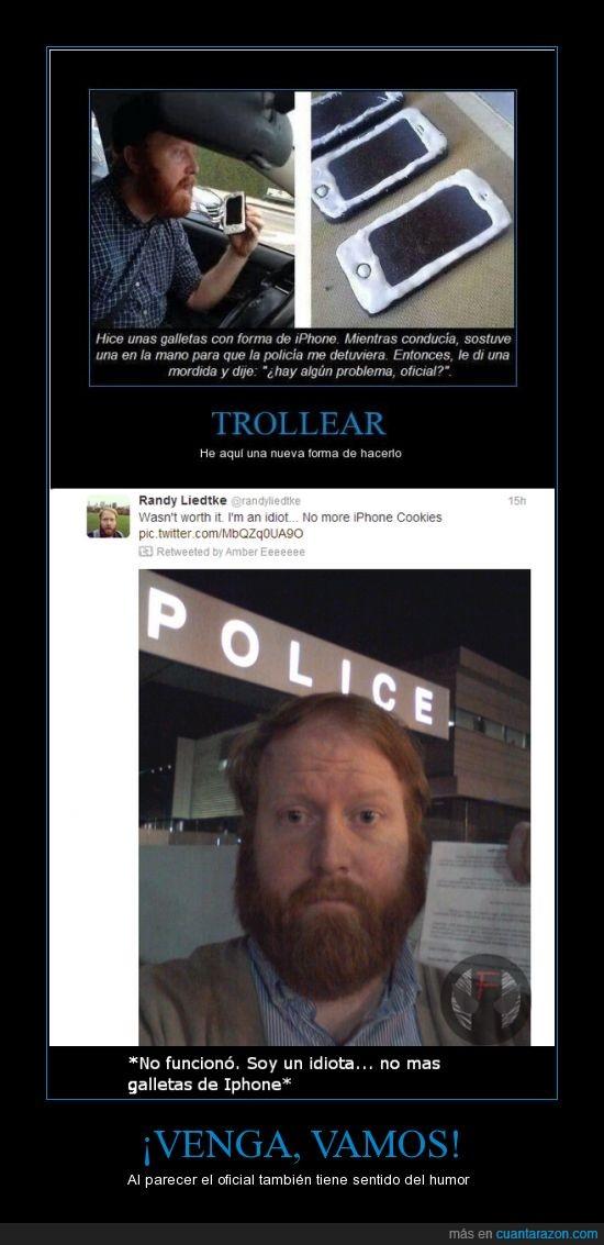 automovil,comisaría,frustrado,iphone,multa,policía,troll