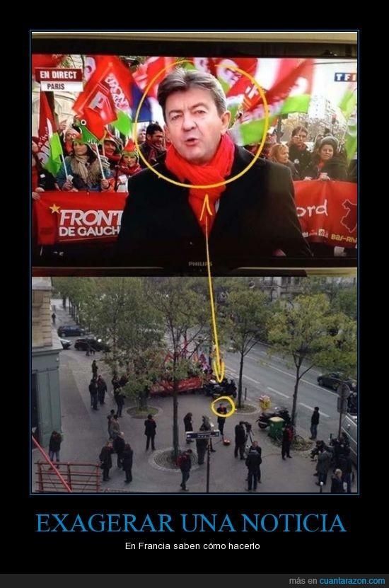 comunicacion,engañar,exagerar,francia,manifestacion,manipular,medio,mentir,noticia,periodismo