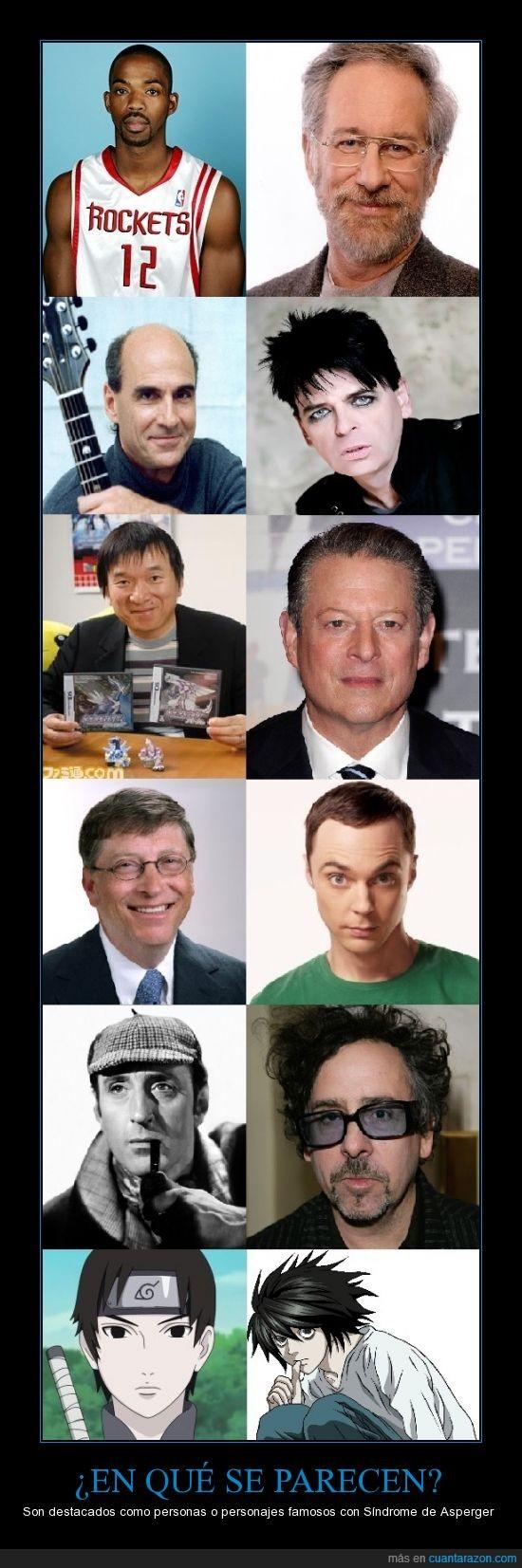 Al Gore,Bill Gates,famosos,Gary Numan,James Taylor,L,Rafer Alston,Sai,Satoshi Tajiri,Sheldon Cooper,Sherlock Holmes,Sindrome de Asperger,Steven Spielberg,Tim Burton
