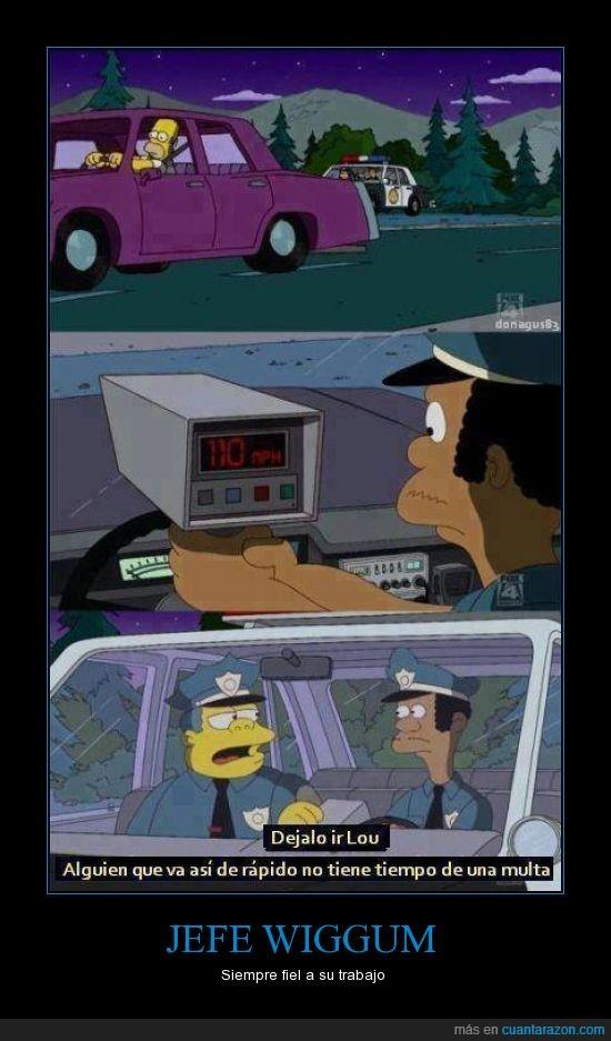 alguien,clancy,coche,jefe,lou,multa,rapido,tiempo,velocidad,wiggum