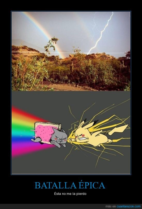arcoiris,cielo,lucha,nyancat,pelea,pikachu,rayo,trueño