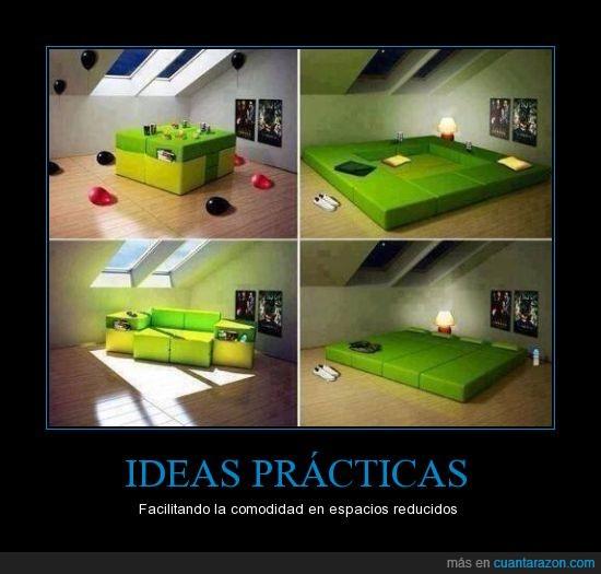 cama,espacios reducidos,facilitar,Ideas,muebles,práctico