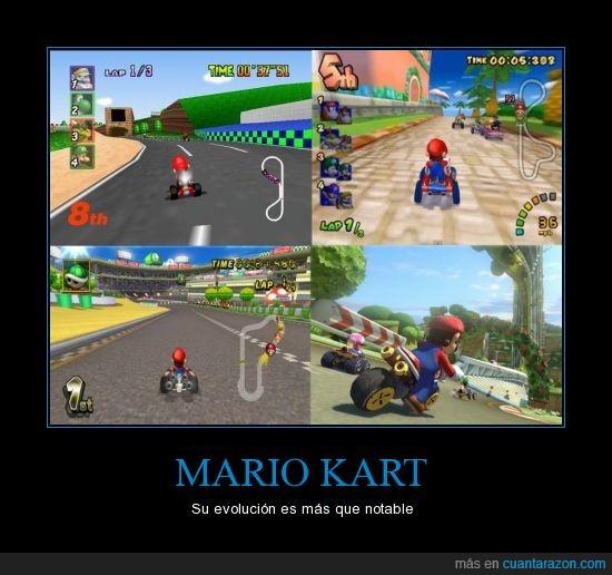 carrera,coche,evolución,gráficas,Mario kart,nintendo,tiempo