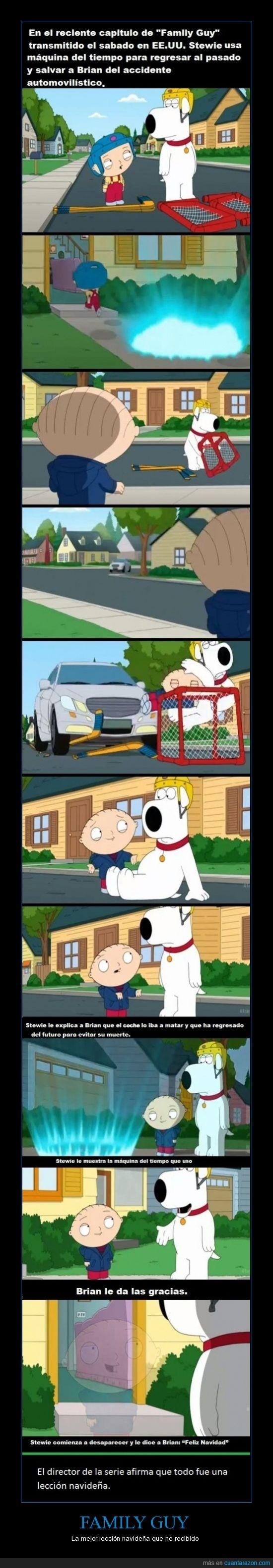 Accidente,Brian,Family Guy,Lección,Navidad,Stewie Héroe
