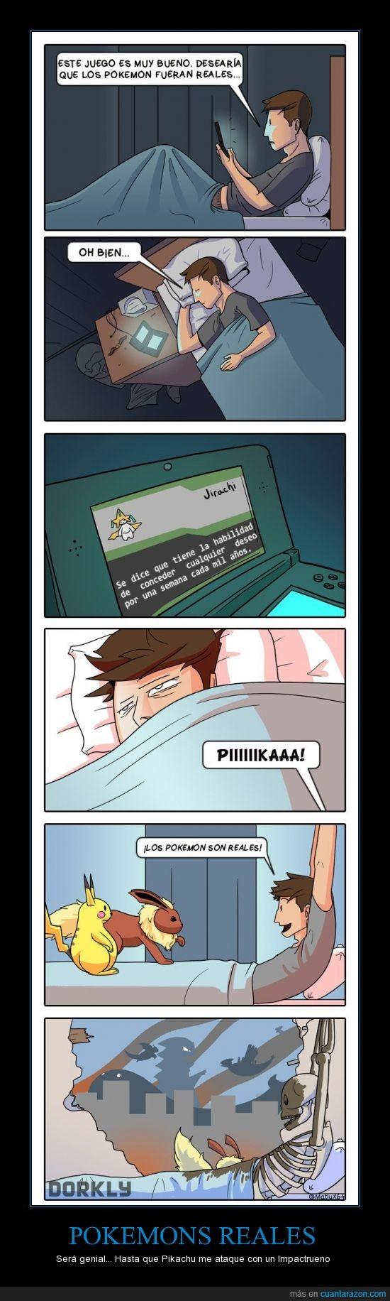cuidado con lo que deseas,impactrueno,muerte,Pikachu,pokemons,vida real