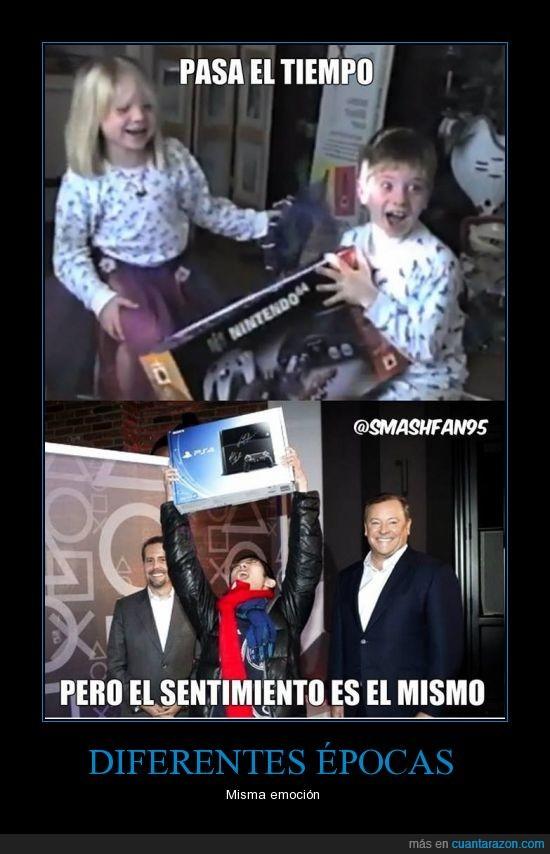 Actualidad,Anteriores,Emociones,Epocas,Gamers,Nintendo64,PS4,Tecnologia