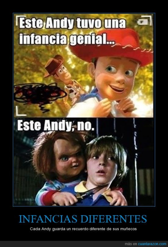 Andy,childs play,chucky,diferencias,juguetes,toy story,woody
