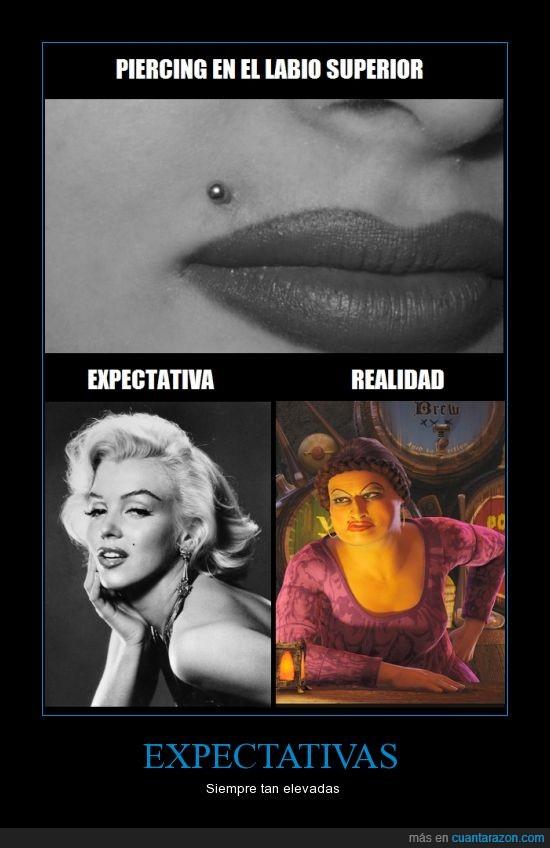 eso no mola,hermanastra fea,labio,marilyn monroe,piercing,shrek