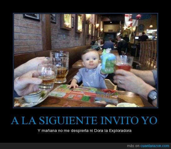 bebe,beber,brindar,dora,familia,niño,zumo
