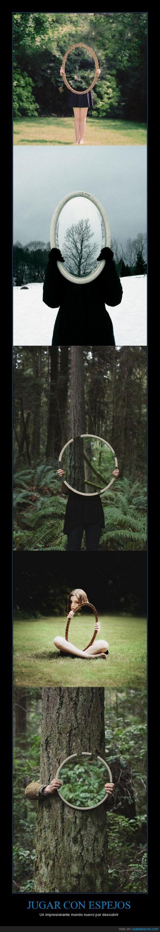 descubrir,espejos,jugar,mundo,nuevo