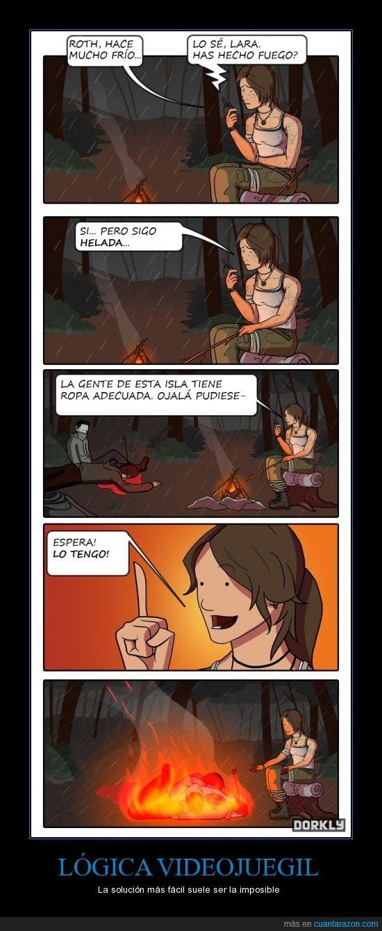comic,dorkly,gaming,lara croft,logica. videojuegos,tomb raider