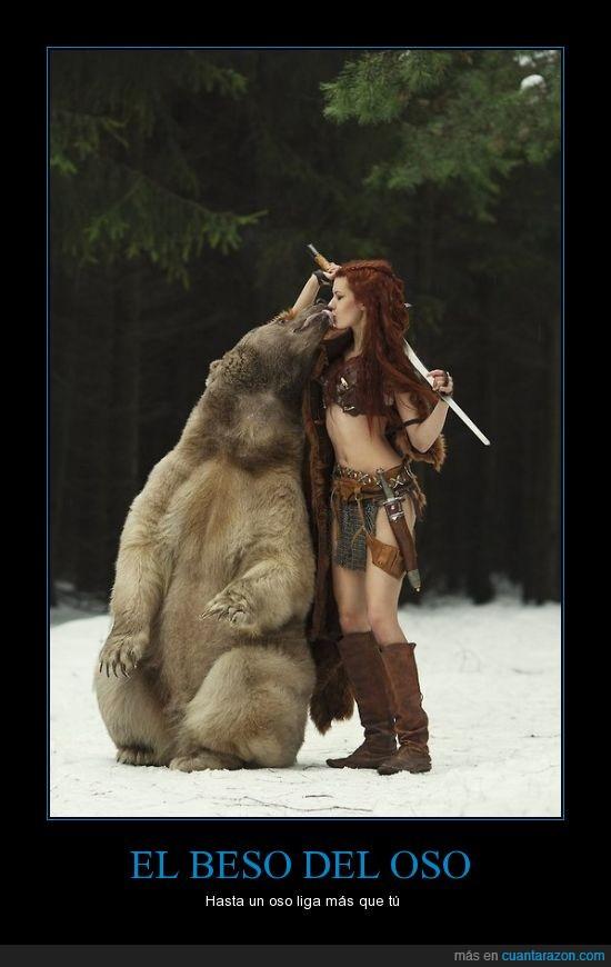beso,chica,mujer,nieve,oso,plantigrado