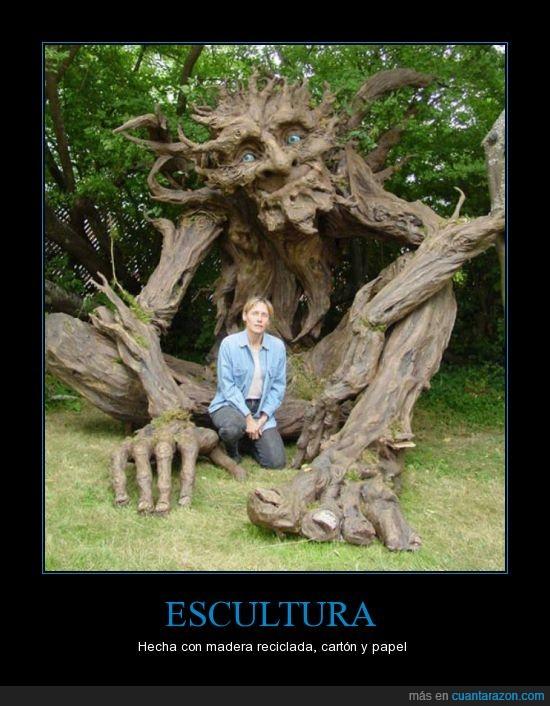 carton,escultura,increible,madera,papel