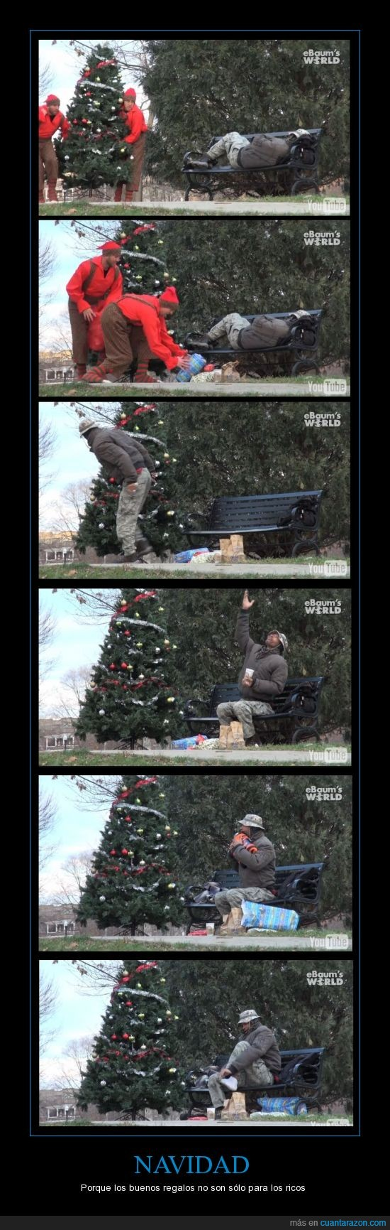 árbol,buena gente,Navidad,pobre,regalos,ricos,vagabundo