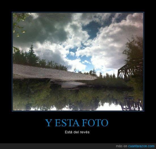 foto,girada,lago,reflejo