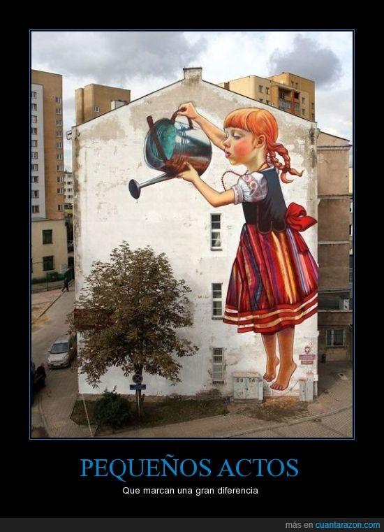 Actos,arbol,arte,Cambios,graffiti,Naturaleza,niña,pared,pintar,regar