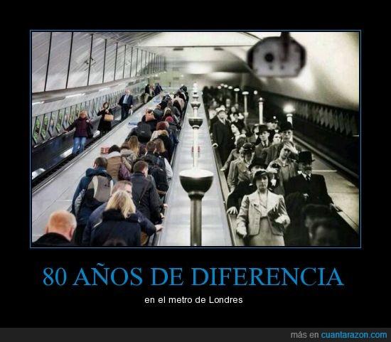 años,escalera,foto,londres,metro,misma,mismo,tiempo
