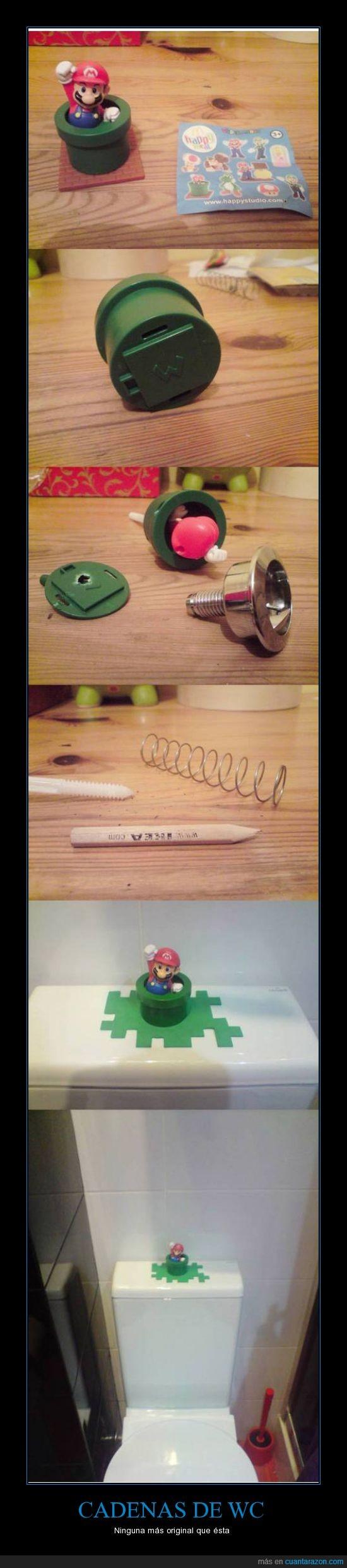 cadena,decoración,juguete,Mario,muelle,original,wc