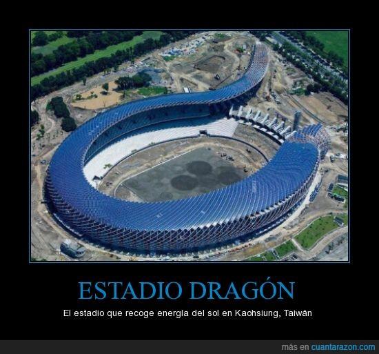 capacidad de 55.000 espectadores,dragón,energía solar,estadio,Taiwán