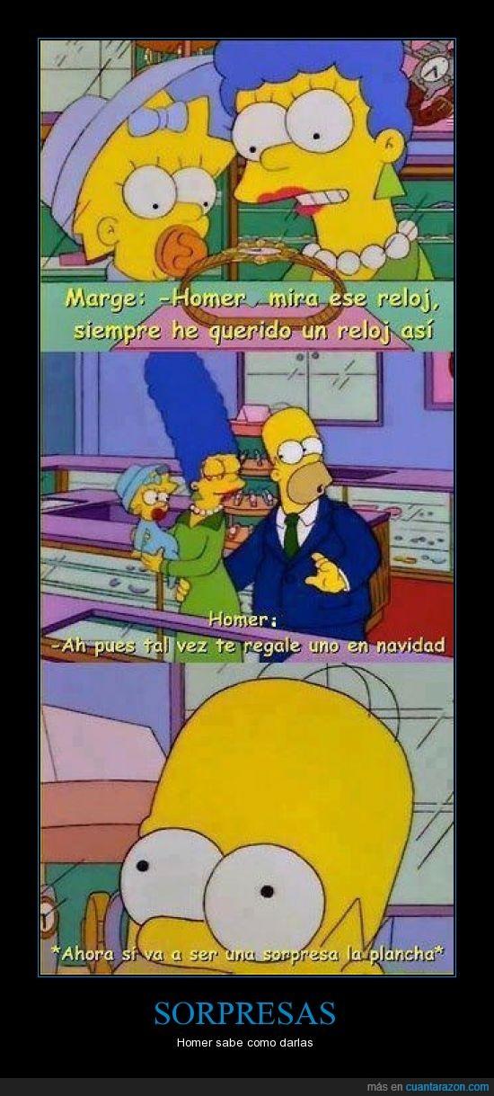 Homer,los simpson,Marge,navidad,plancha,regalar,reloj