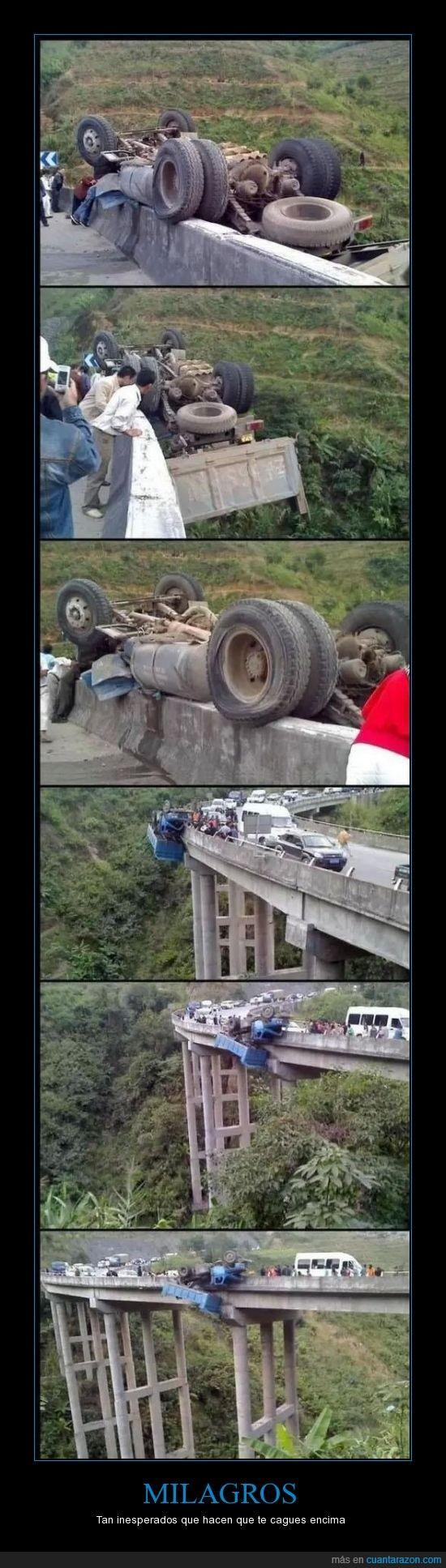 caer,camion,inesperado,puente,suerte.milagros