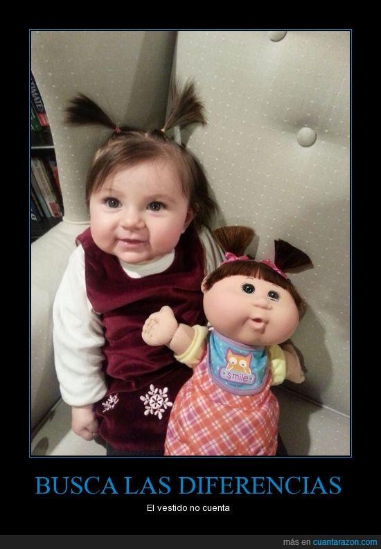 bebe,cabbage patch kids,diferencias,muñeca,niña,parecidos razonables
