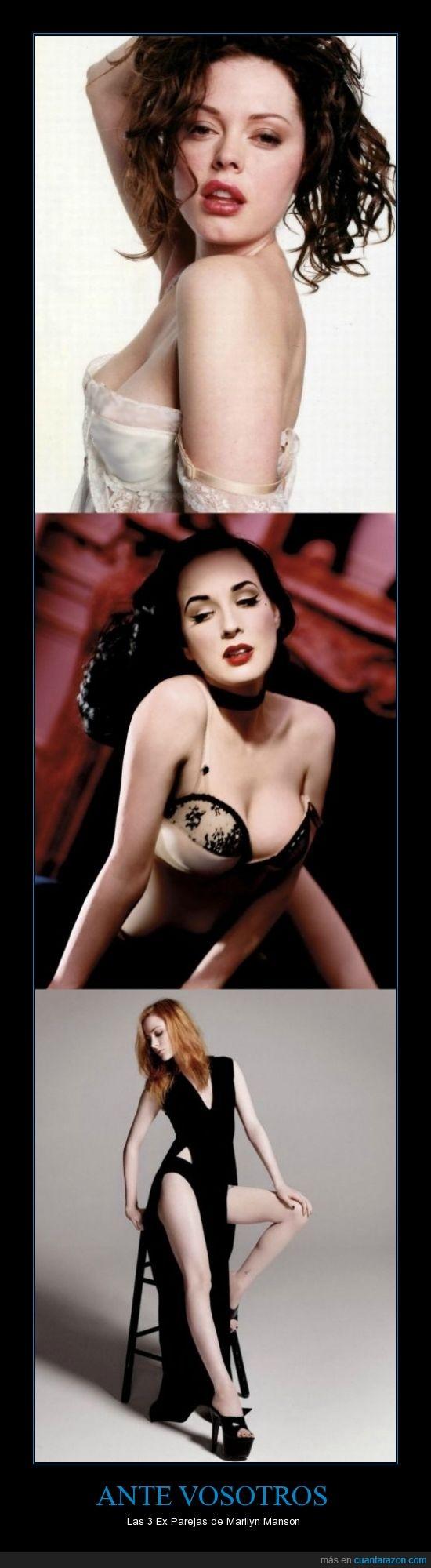 Dita Von Teese,Evan Rachel Wood,guapas,Marilyn Manson,Rose Mcgowan