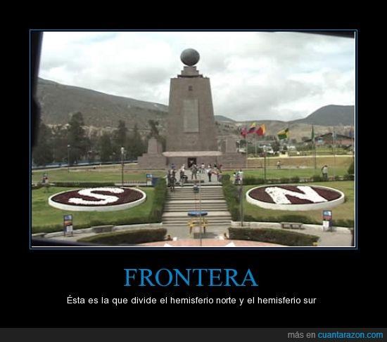 Ecuador,frontera,mitad del mundo,no es necesario saltar,no tiene muros como otras fronteras,norte,sur