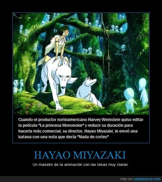 cine,Harvey Weinstein,Hayao Miyazaki,katana,La princesa Mononoke,productor