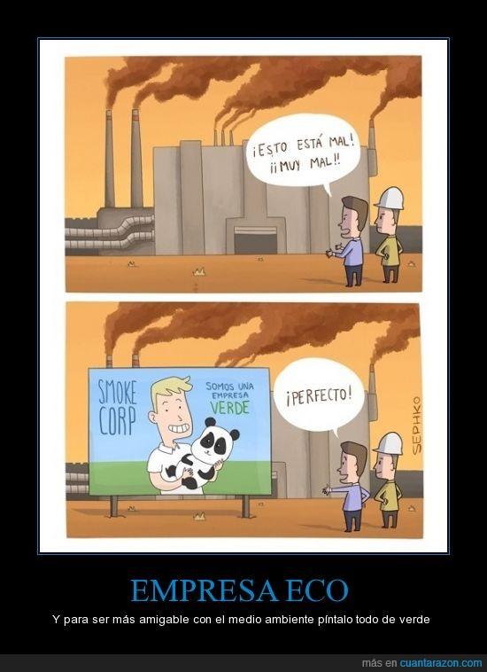 contaminar,dirijido a esas empresas mentirosas,ecologia,Empresa verde,panda,pintar,verde