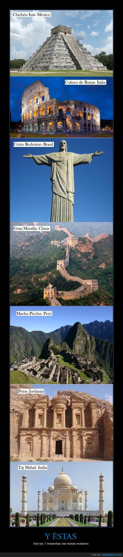 Chichén Itzá,Coliseo de Roma,Cristo Redentor,Gran Muralla,impresionantes,Machu Picchu,maravillas,mundo moderno,Petra,Taj Mahal,votación