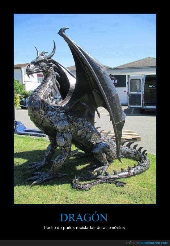 arte,Dragón.recicle,escultura,partes