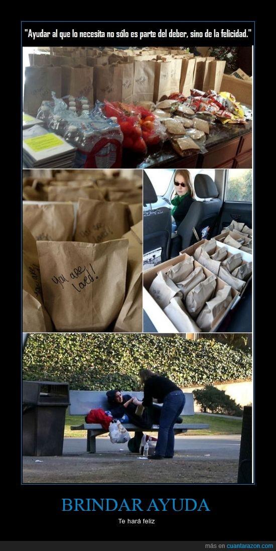 ayudar,bolsa,comida,entregar,homeless,indigente,pobre
