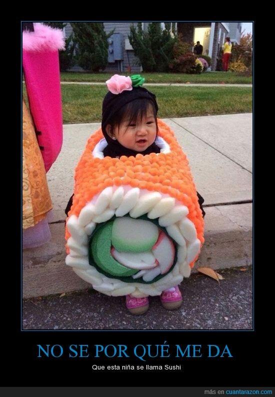 arroz,asiatica,cosplay,disfraz,entrañable,niña,pescado,sushi