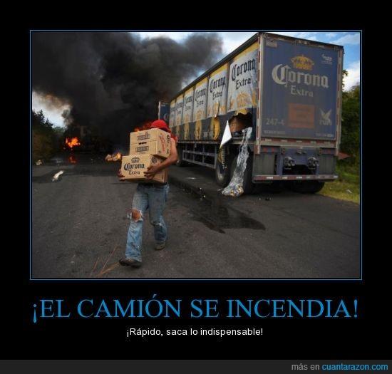 camion,cerveza,corona,coronita,incendia,indispensable,sacar