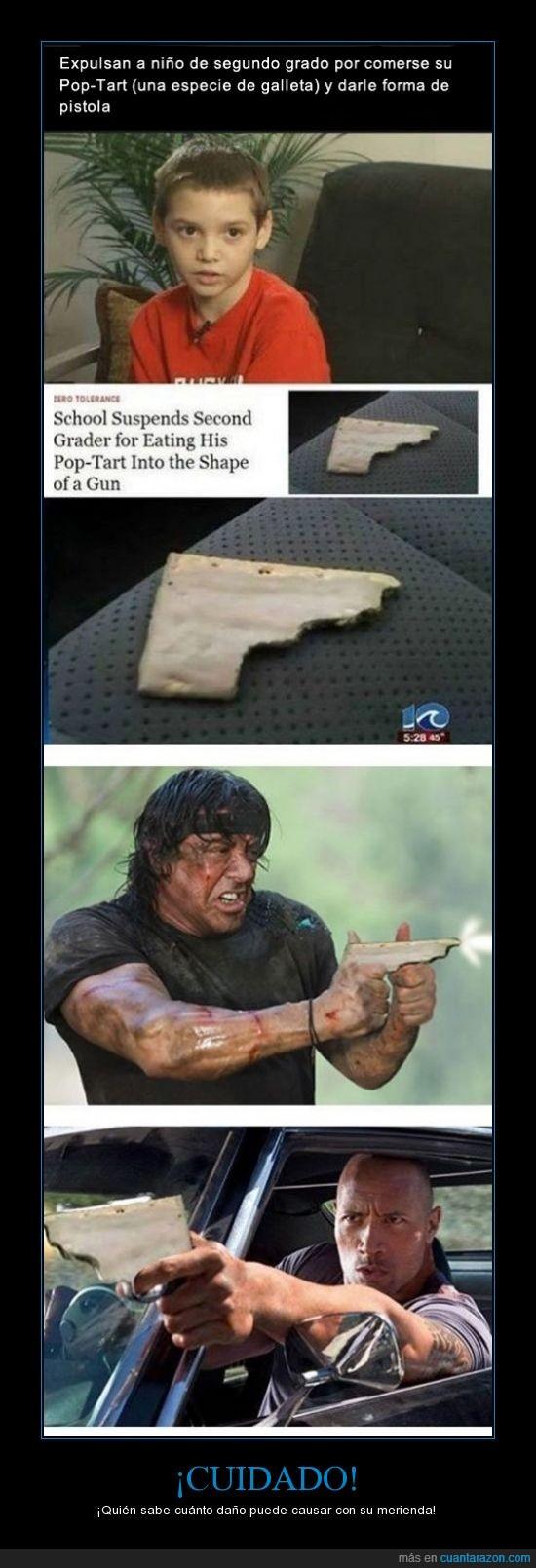 expulsar,forma,galleta,matar,merienda,morder,niño,pistola,pop-tart,poptart
