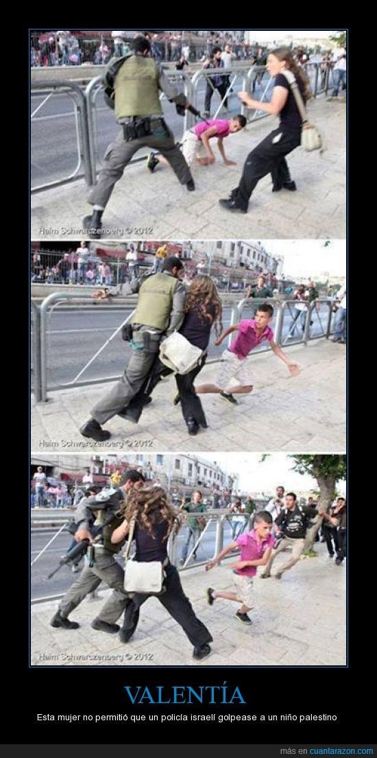 golpear,mujer,niño,parar,policia,valiente