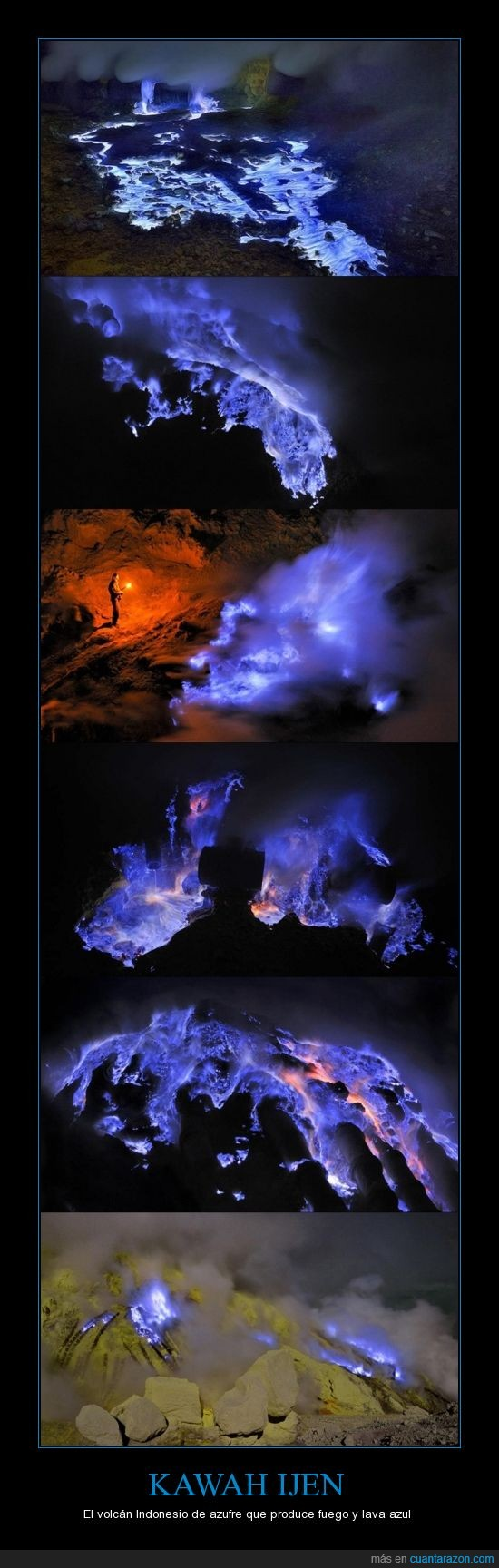 azufre,azul,extraño,fuego,Indonesia,kawah Ijen,lava,luz,mineral,volcán