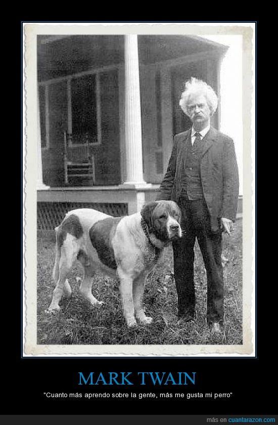 amigo,aprender,hombre,mark twain,mejor,perro