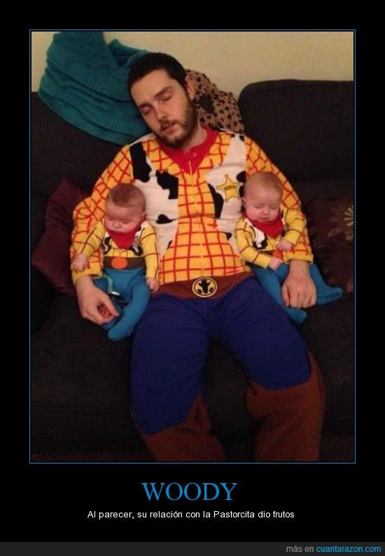 bebes,disfraz,gemelos,mellizos,padre,toy story,woody
